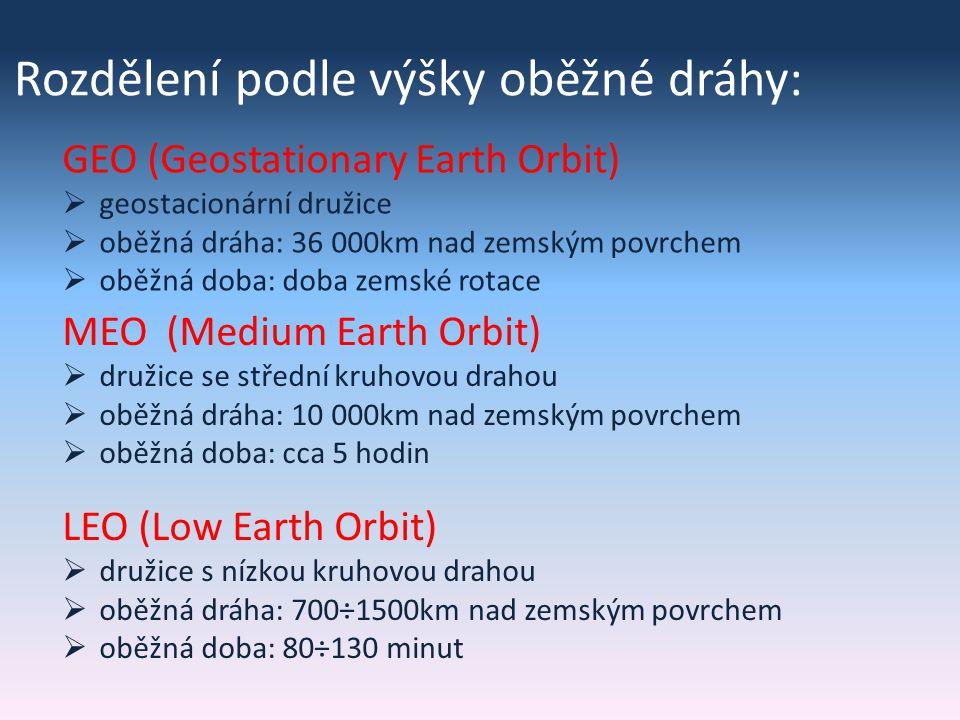 Rozdělení podle výšky oběžné dráhy: GEO (Geostationary Earth Orbit)  geostacionární družice  oběžná dráha: 36 000km nad zemským povrchem  oběžná doba: doba zemské rotace MEO (Medium Earth Orbit)  družice se střední kruhovou drahou  oběžná dráha: 10 000km nad zemským povrchem  oběžná doba: cca 5 hodin LEO (Low Earth Orbit)  družice s nízkou kruhovou drahou  oběžná dráha: 700÷1500km nad zemským povrchem  oběžná doba: 80÷130 minut