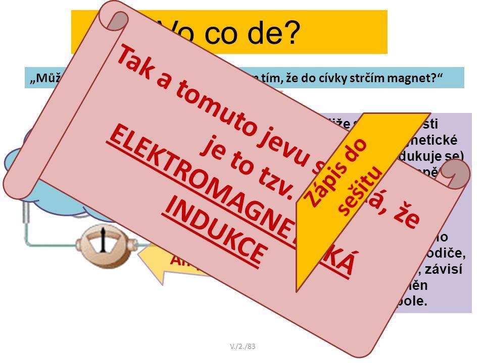 Vo co de? Jestliže se v blízkosti vodiče mění magnetické pole, vzniká (indukuje se) na jeho koncích napětí a uzavřeným obvodem začne procházet proud.