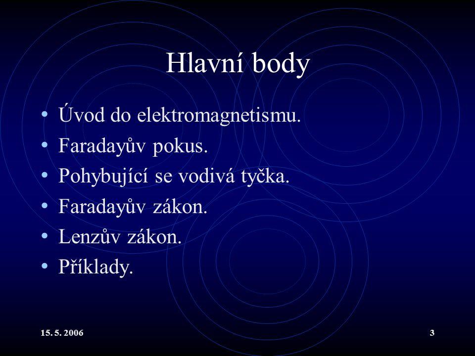 15.5. 20063 Hlavní body Úvod do elektromagnetismu.