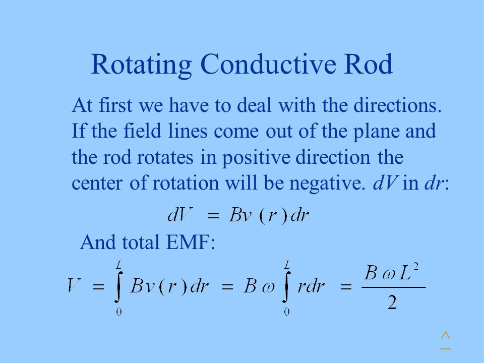 Rotating Conductive Rod At first we have to deal with the directions. If the field lines come out of the plane and the rod rotates in positive directi