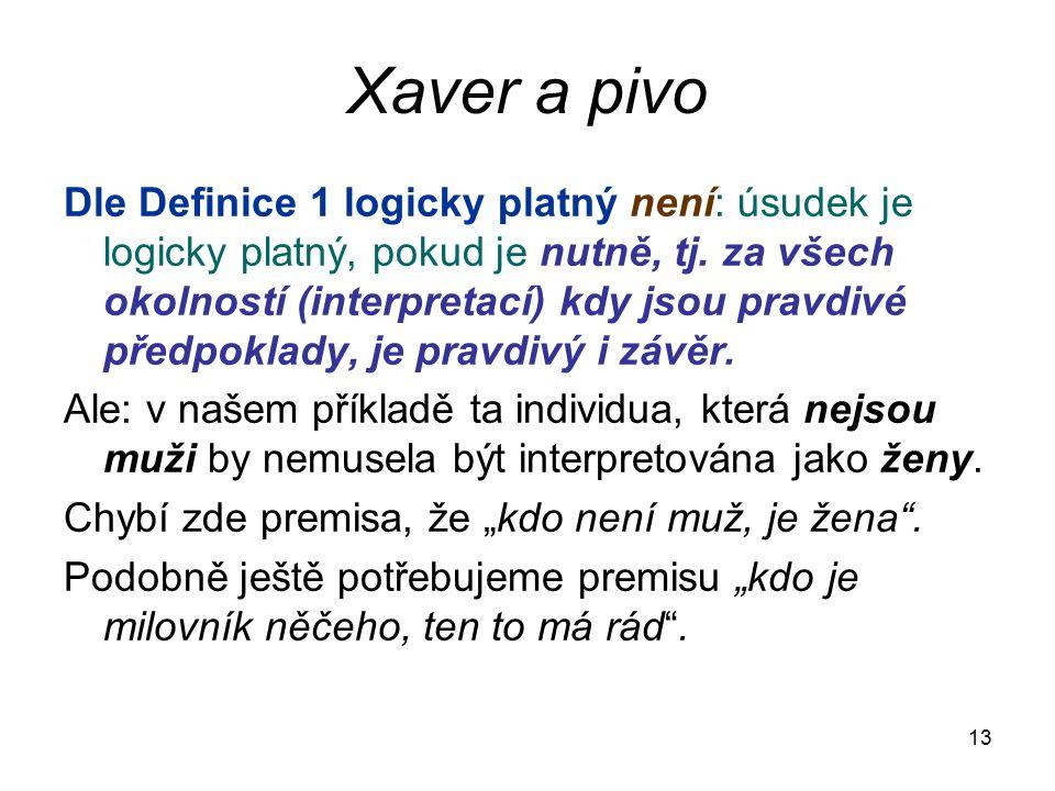 13 Xaver a pivo Dle Definice 1 logicky platný není: úsudek je logicky platný, pokud je nutně, tj. za všech okolností (interpretací) kdy jsou pravdivé