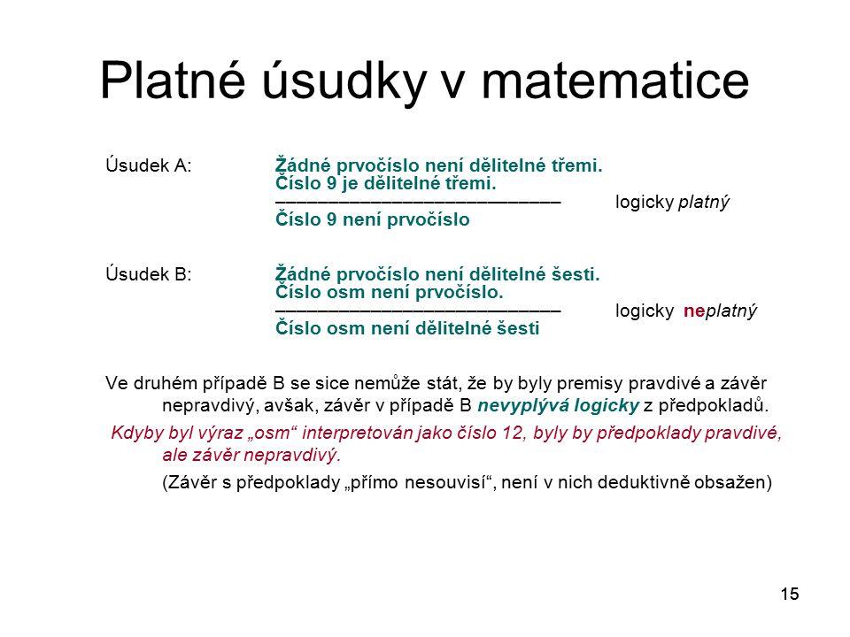 15 Platné úsudky v matematice Úsudek A:Žádné prvočíslo není dělitelné třemi. Číslo 9 je dělitelné třemi. ––––––––––––––––––––––––––– logicky platný Čí