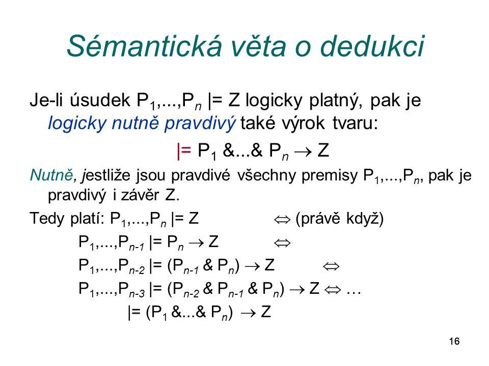 16 Sémantická věta o dedukci Je-li úsudek P 1,...,P n |= Z logicky platný, pak je logicky nutně pravdivý také výrok tvaru: |= P 1 &...& P n  Z Nutně,