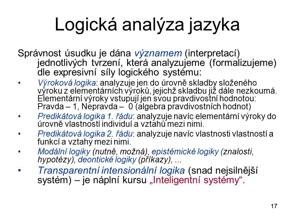 17 Logická analýza jazyka Správnost úsudku je dána významem (interpretací) jednotlivých tvrzení, která analyzujeme (formalizujeme) dle expresivní síly