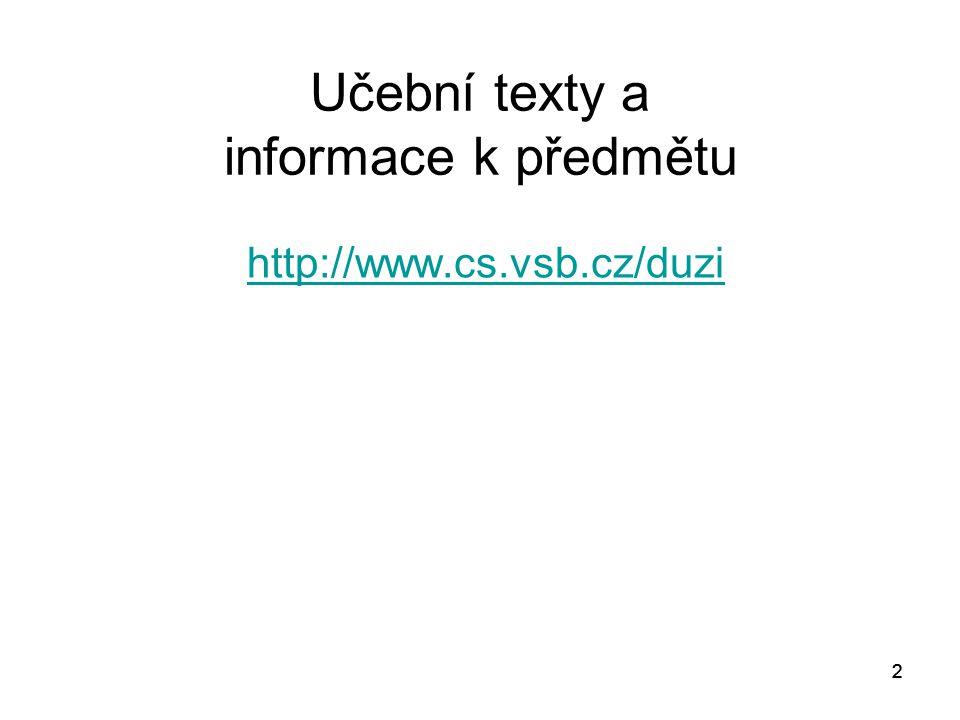 22 Učební texty a informace k předmětu http://www.cs.vsb.cz/duzi