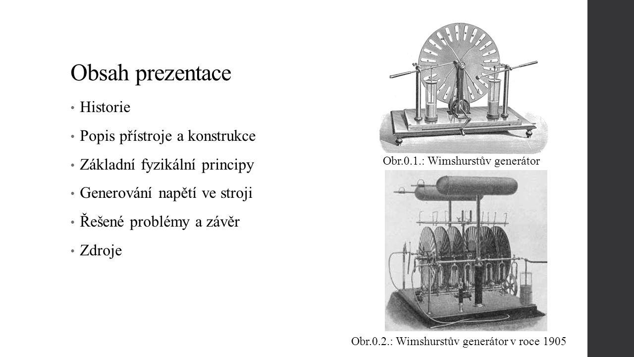 Obsah prezentace Historie Popis přístroje a konstrukce Základní fyzikální principy Generování napětí ve stroji Řešené problémy a závěr Zdroje Obr.0.1.: Wimshurstův generátor Obr.0.2.: Wimshurstův generátor v roce 1905