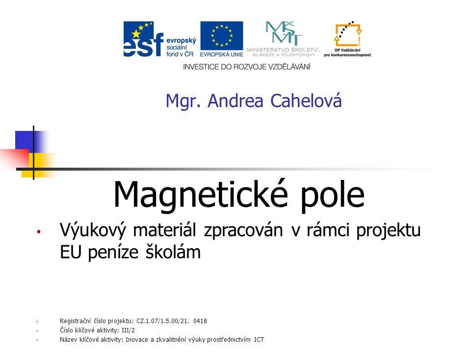 Magnetické pole Výukový materiál zpracován v rámci projektu EU peníze školám Registrační číslo projektu: CZ.1.07/1.5.00/21. 0418 Číslo klíčové aktivit