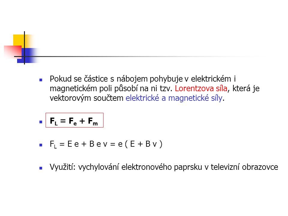 Pokud se částice s nábojem pohybuje v elektrickém i magnetickém poli působí na ni tzv. Lorentzova síla, která je vektorovým součtem elektrické a magne