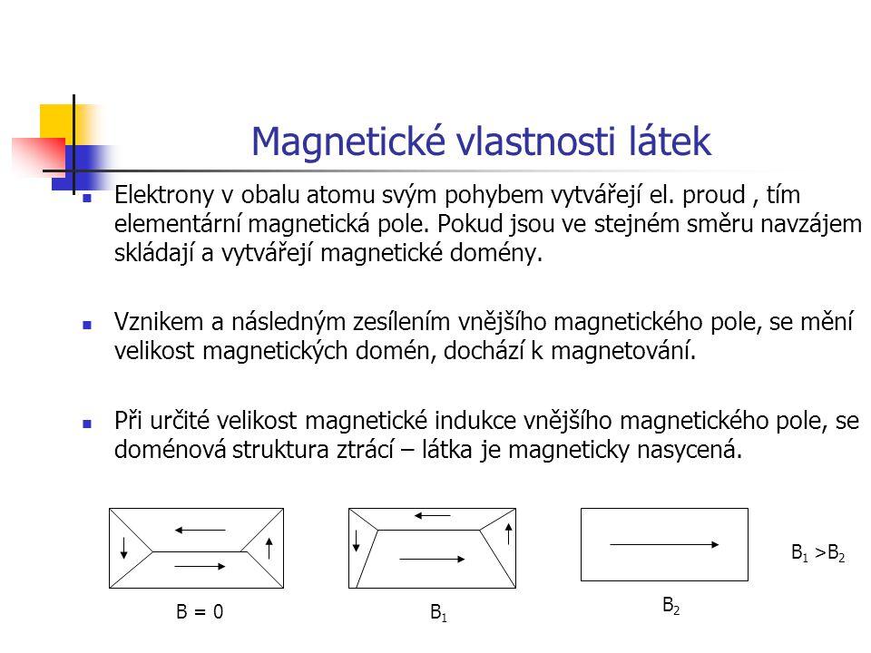 Magnetické vlastnosti látek Elektrony v obalu atomu svým pohybem vytvářejí el. proud, tím elementární magnetická pole. Pokud jsou ve stejném směru nav