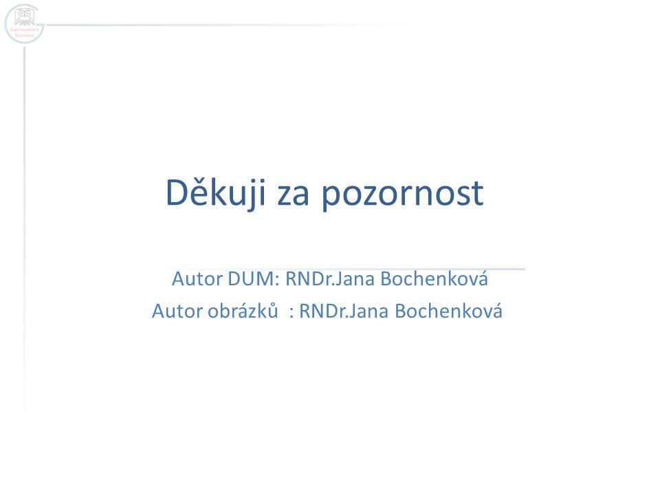 Děkuji za pozornost Autor DUM: RNDr.Jana Bochenková Autor obrázků : RNDr.Jana Bochenková