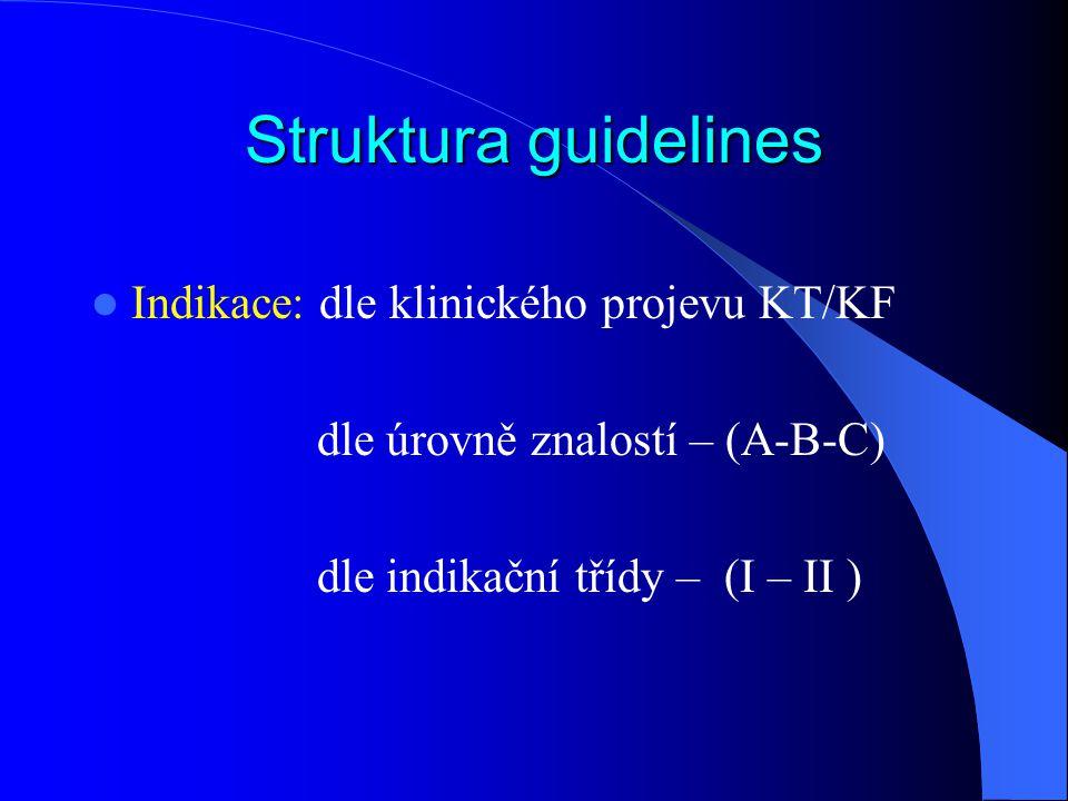 Struktura guidelines Indikace: dle klinického projevu KT/KF dle úrovně znalostí – (A-B-C) dle indikační třídy – (I – II )