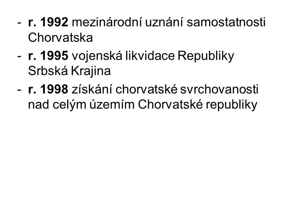 -r. 1992 mezinárodní uznání samostatnosti Chorvatska -r. 1995 vojenská likvidace Republiky Srbská Krajina -r. 1998 získání chorvatské svrchovanosti na