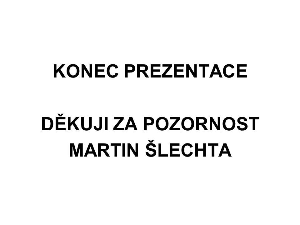 KONEC PREZENTACE DĚKUJI ZA POZORNOST MARTIN ŠLECHTA