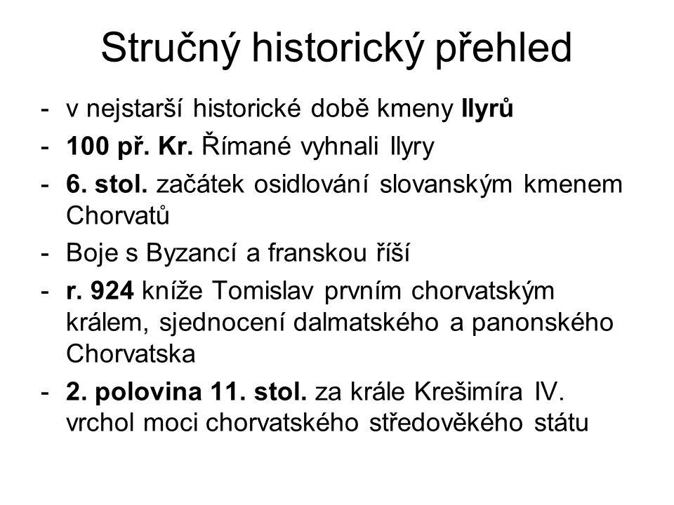 Stručný historický přehled -v nejstarší historické době kmeny Ilyrů -100 př. Kr. Římané vyhnali Ilyry -6. stol. začátek osidlování slovanským kmenem C