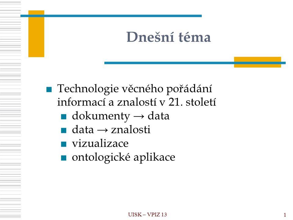 Dnešní téma UISK – VPIZ 13 1 ■Technologie věcného pořádání informací a znalostí v 21.