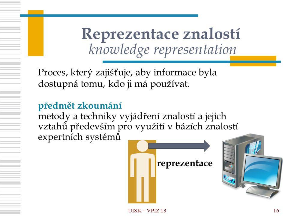 16 Reprezentace znalostí knowledge representation UISK – VPIZ 13 reprezentace Proces, který zajišťuje, aby informace byla dostupná tomu, kdo ji má používat.