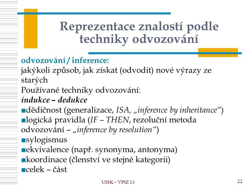 """Reprezentace znalostí podle techniky odvozování UISK – VPIZ 13 22 odvozování / inference: jakýkoli způsob, jak získat (odvodit) nové výrazy ze starých Používané techniky odvozování: indukce – dedukce ■dědičnost (generalizace, ISA, """"inference by inheritance ) ■logická pravidla ( IF – THEN, rezoluční metoda odvozování – """"inference by resolution ) ■sylogismus ■ekvivalence (např."""