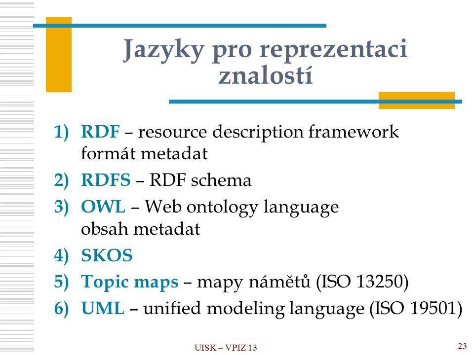 Jazyky pro reprezentaci znalostí 1) RDF – resource description framework formát metadat 2) RDFS – RDF schema 3) OWL – Web ontology language obsah meta