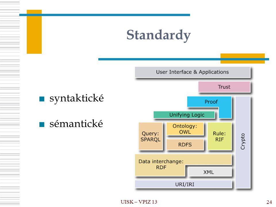 Standardy UISK – VPIZ 13 24 ■syntaktické ■sémantické