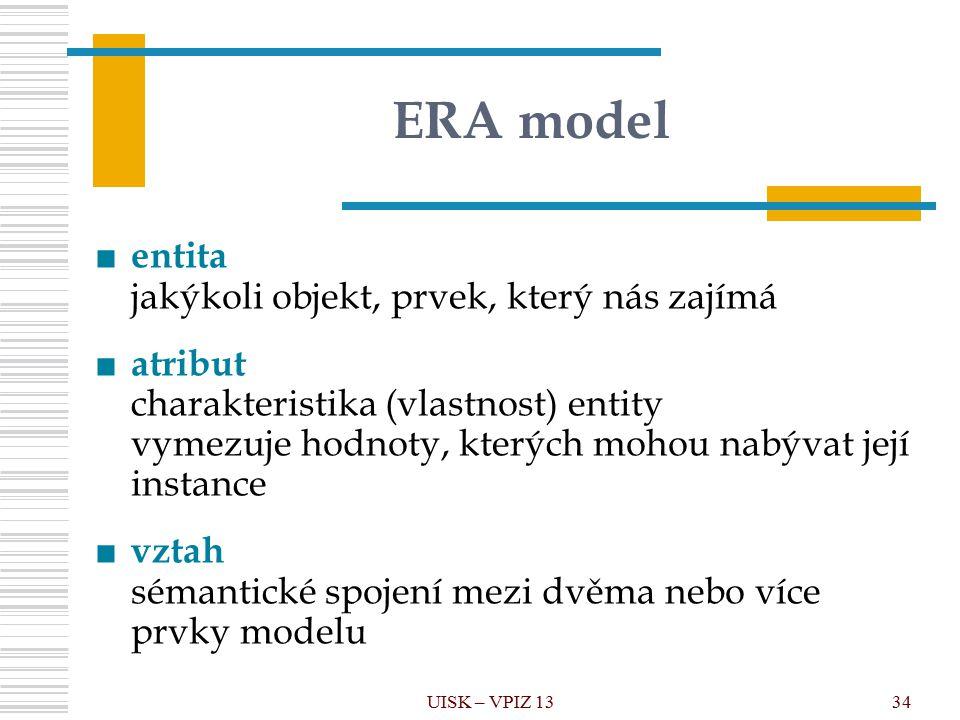 UISK – VPIZ 1334 ERA model ■ entita jakýkoli objekt, prvek, který nás zajímá ■ atribut charakteristika (vlastnost) entity vymezuje hodnoty, kterých mohou nabývat její instance ■ vztah sémantické spojení mezi dvěma nebo více prvky modelu