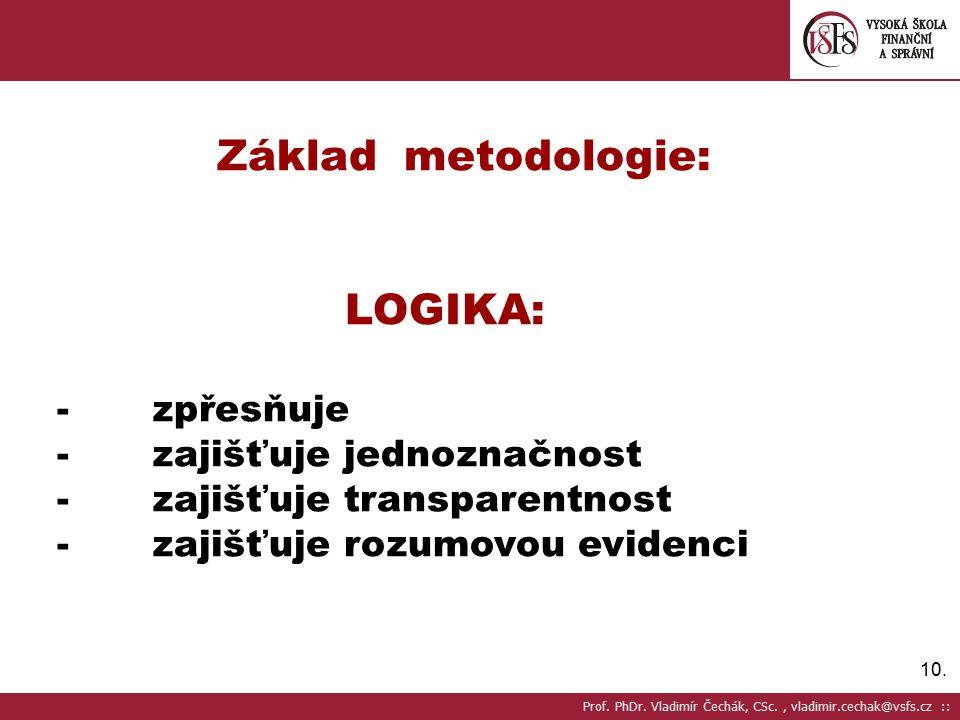 10. Základ metodologie: LOGIKA: - zpřesňuje - zajišťuje jednoznačnost - zajišťuje transparentnost - zajišťuje rozumovou evidenci Prof. PhDr. Vladimír