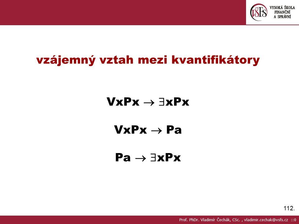 112.vzájemný vztah mezi kvantifikátory VxPx   xPx VxPx  Pa Pa   xPx Prof.