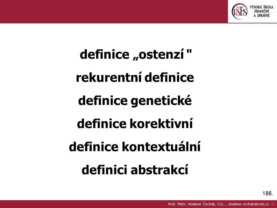 """186. definice """"ostenzí"""" rekurentní definice definice genetické definice korektivní definice kontextuální definici abstrakcí Prof. PhDr. Vladimír Čechá"""
