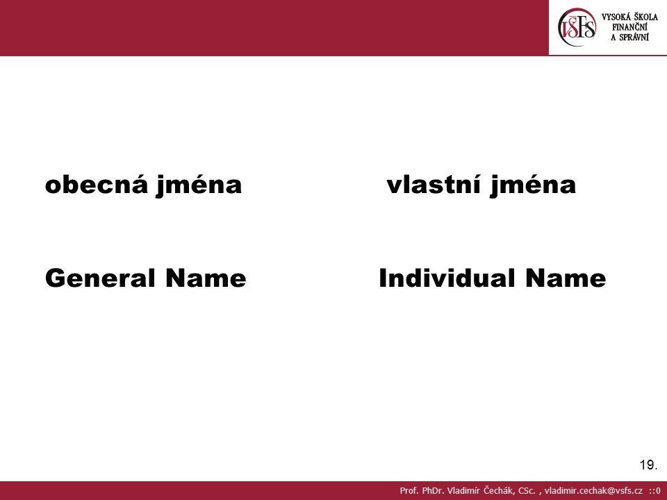 19.obecná jména vlastní jména General NameIndividual Name Prof.