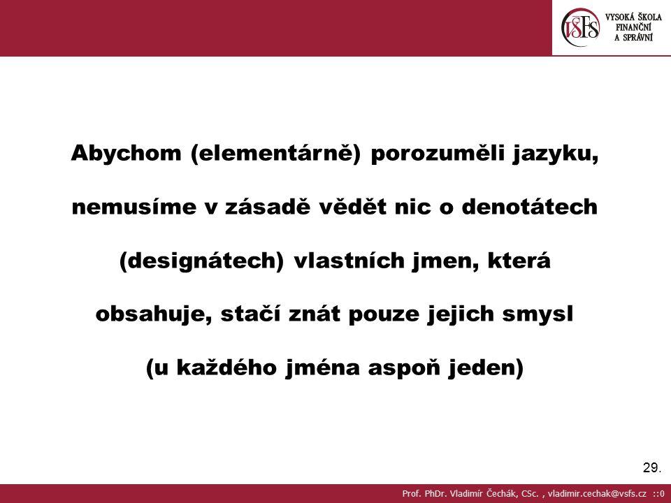 29. Abychom (elementárně) porozuměli jazyku, nemusíme v zásadě vědět nic o denotátech (designátech) vlastních jmen, která obsahuje, stačí znát pouze j