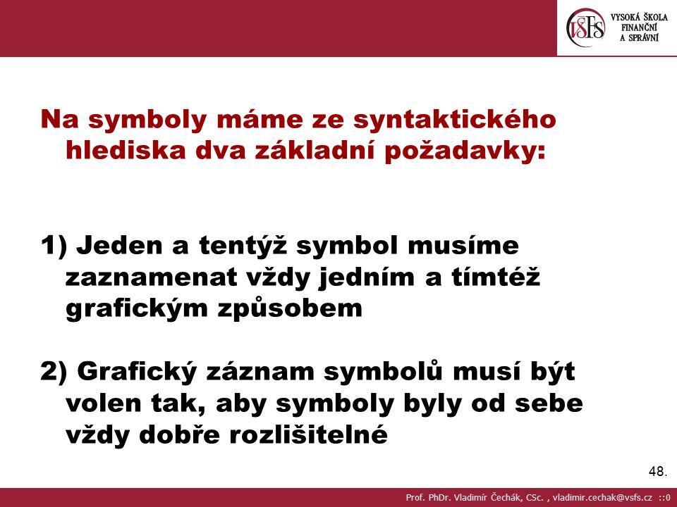 48. Na symboly máme ze syntaktického hlediska dva základní požadavky: 1) Jeden a tentýž symbol musíme zaznamenat vždy jedním a tímtéž grafickým způsob