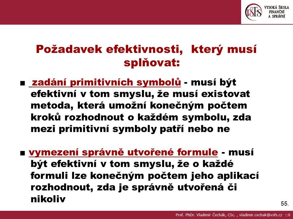 55. Požadavek efektivnosti, který musí splňovat: ■ zadání primitivních symbolů - musí být efektivní v tom smyslu, že musí existovat metoda, která umož