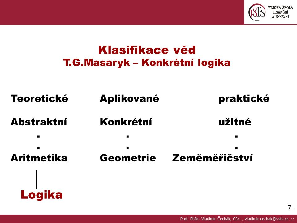 7.7. Klasifikace věd T.G.Masaryk – Konkrétní logika TeoretickéAplikovanépraktické AbstraktníKonkrétní užitné... Aritmetika Geometrie Zeměměřičství Log