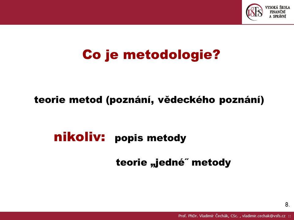 9.9.METODA = způsob jak získávat poznatky NIKOLIV: návod Prof.