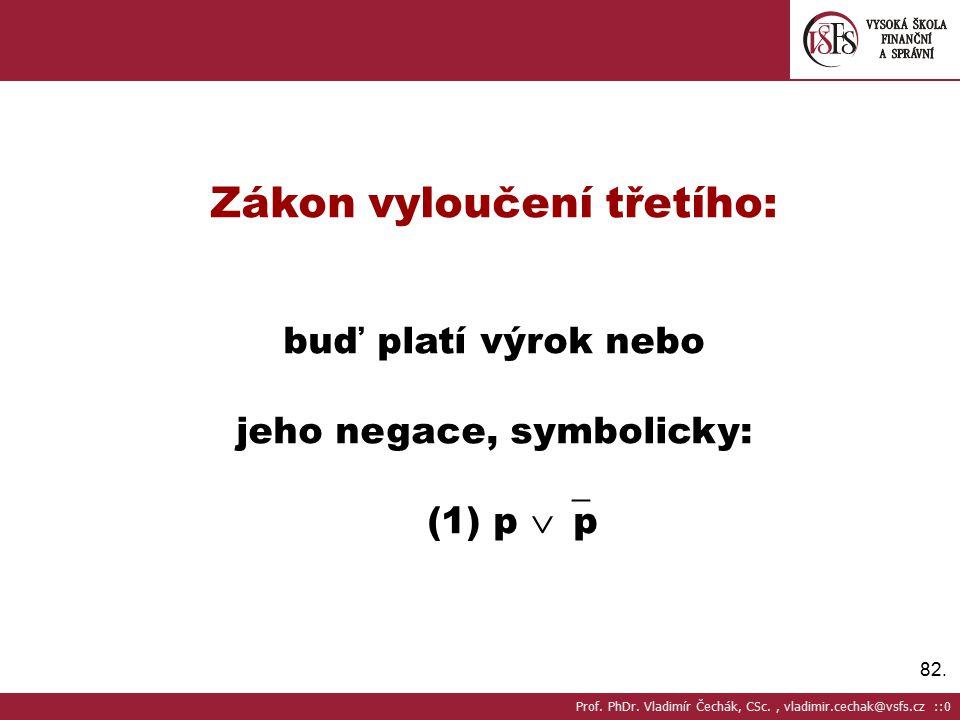 82.Zákon vyloučení třetího: buď platí výrok nebo jeho negace, symbolicky: (1) p  p Prof.