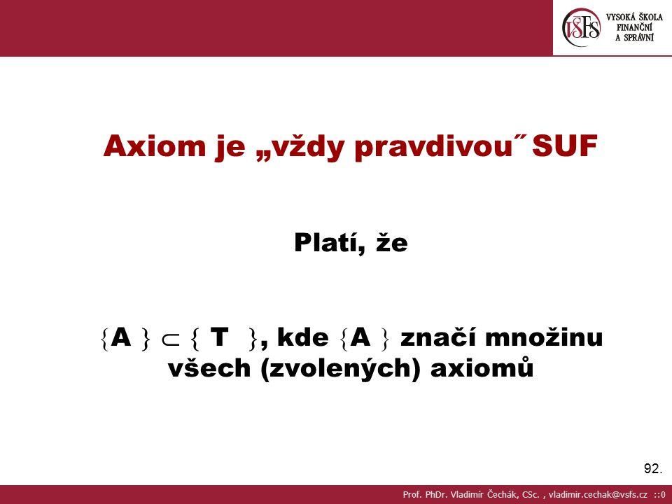 """92. Axiom je """"vždy pravdivou˝ SUF Platí, že  A    T , kde  A  značí množinu všech (zvolených) axiomů Prof. PhDr. Vladimír Čechák, CSc., vladimi"""