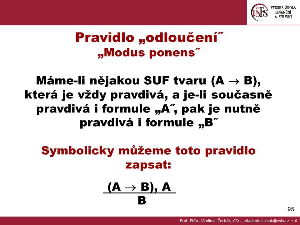 """95. Pravidlo """"odloučení˝ """"Modus ponens˝ Máme-li nějakou SUF tvaru (A  B), která je vždy pravdivá, a je-li současně pravdivá i formule """"A˝, pak je nut"""