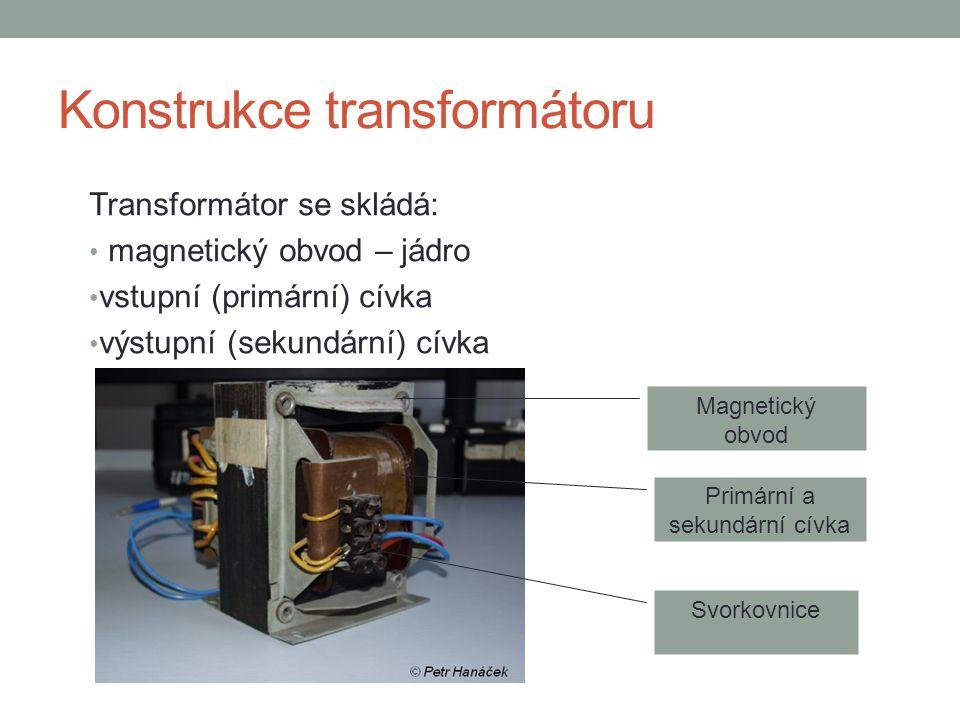 Konstrukce transformátoru Transformátor se skládá: magnetický obvod – jádro vstupní (primární) cívka výstupní (sekundární) cívka Magnetický obvod Prim