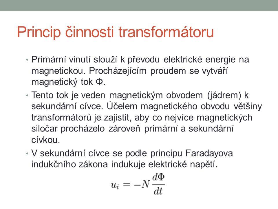 Primární vinutí slouží k převodu elektrické energie na magnetickou. Procházejícím proudem se vytváří magnetický tok Φ. Tento tok je veden magnetickým