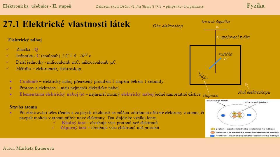 27.1 Elektrické vlastnosti látek Elektronická učebnice - II.