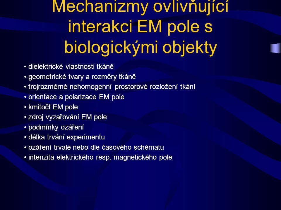 Mechanizmy ovlivňující interakci EM pole s biologickými objekty dielektrické vlastnosti tkáně geometrické tvary a rozměry tkáně trojrozměrné nehomogenní prostorové rozložení tkání orientace a polarizace EM pole kmitočt EM pole zdroj vyzařování EM pole podmínky ozáření délka trvání experimentu ozáření trvalé nebo dle časového schématu intenzita elektrického resp.