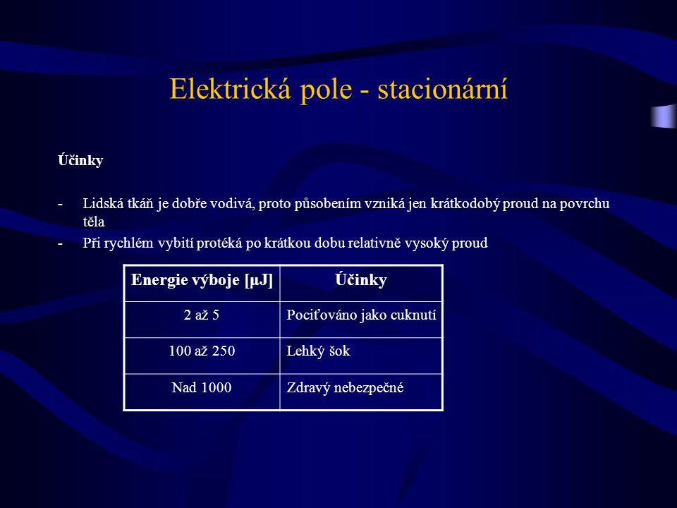 Elektrická pole - stacionární Účinky -Lidská tkáň je dobře vodivá, proto působením vzniká jen krátkodobý proud na povrchu těla -Při rychlém vybití pro