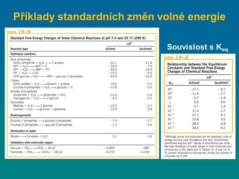 Příklady standardních změn volné energie Souvislost s K eq