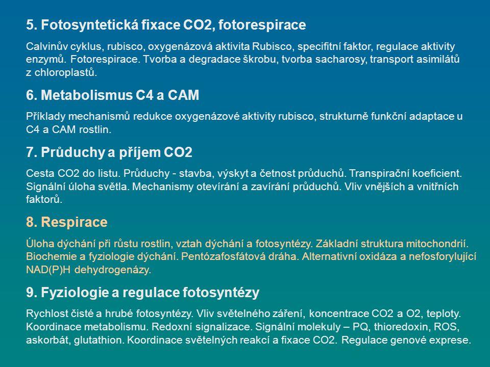 5. Fotosyntetická fixace CO2, fotorespirace Calvinův cyklus, rubisco, oxygenázová aktivita Rubisco, specifitní faktor, regulace aktivity enzymů. Fotor