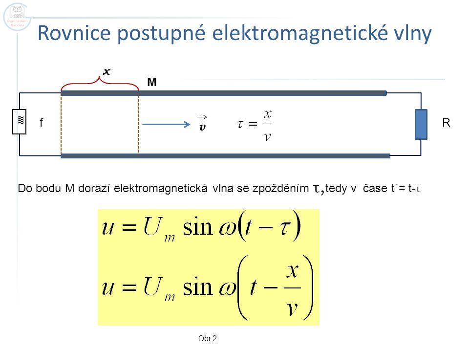 Další vztahy pro elektromagnetické vlnění u -okamžitá hodnota napětí U m -amplituda napětí ω - úhlová frekvence f - frekvence T -perioda λ - vlnová délka v - rychlost vlnění t - čas x -vzdálenost od zdroje Pro frekvenci 50 Hz se vlnový charakter děje na běžných vedeních neprojeví ( ) a vlnová rovnice přechází v rovnici kmitání