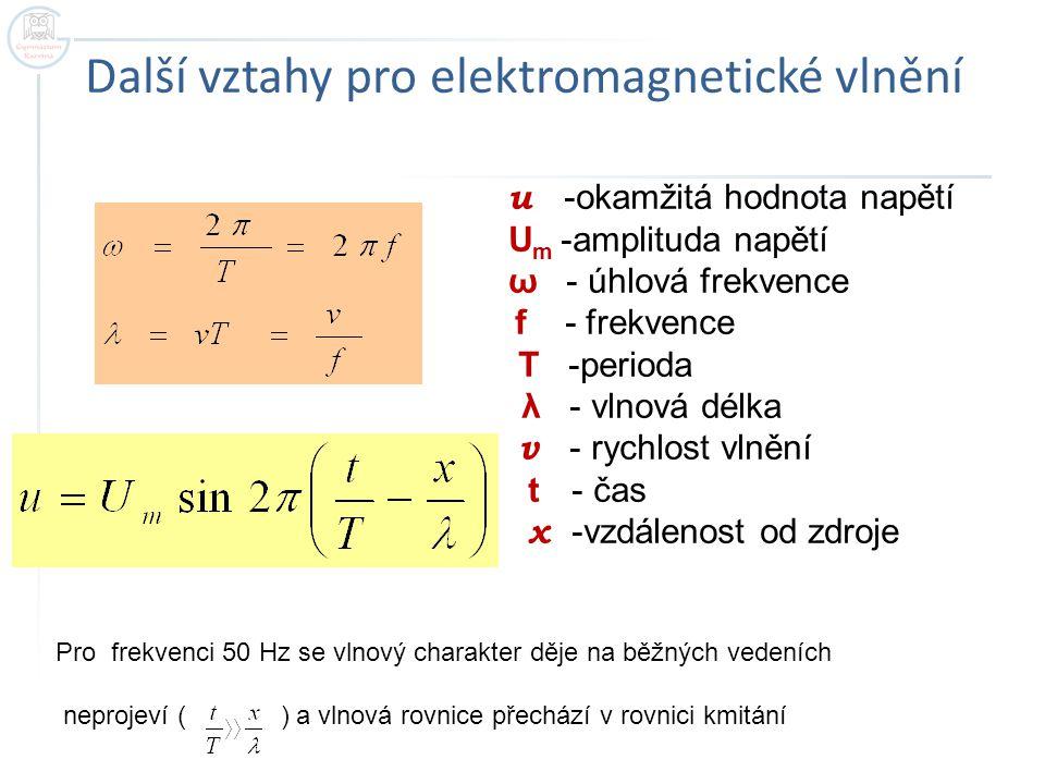 Další vztahy pro elektromagnetické vlnění u -okamžitá hodnota napětí U m -amplituda napětí ω - úhlová frekvence f - frekvence T -perioda λ - vlnová dé