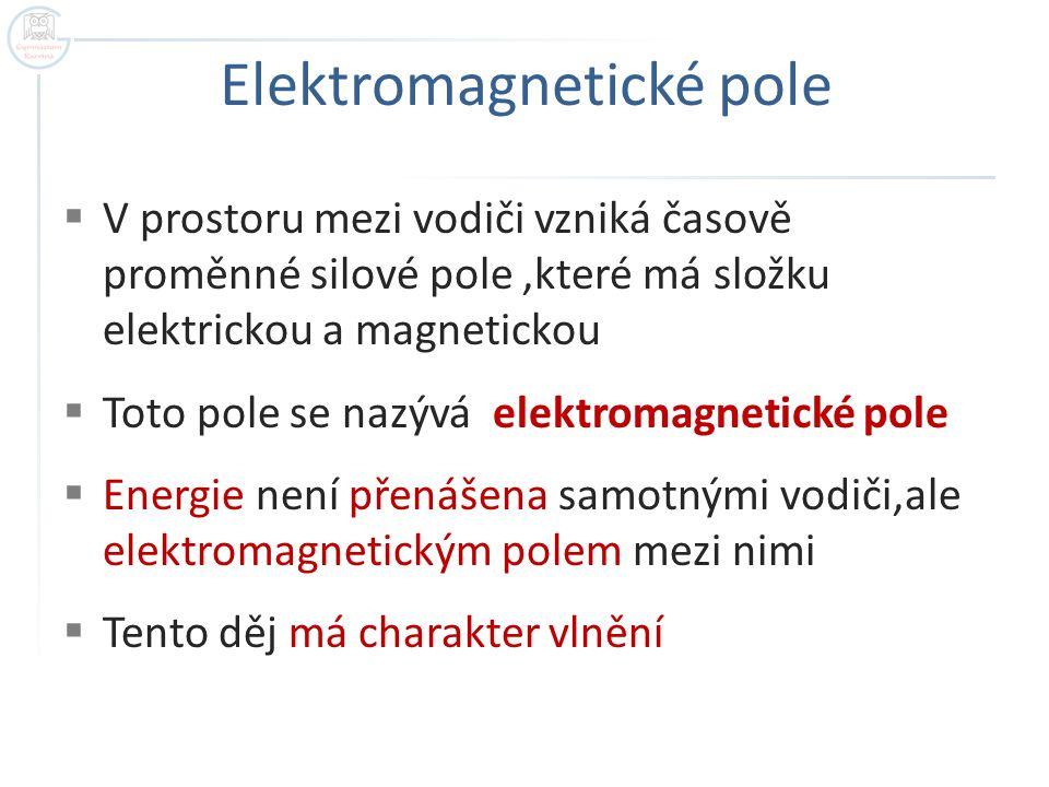 Elektromagnetické pole  V prostoru mezi vodiči vzniká časově proměnné silové pole,které má složku elektrickou a magnetickou  Toto pole se nazývá ele