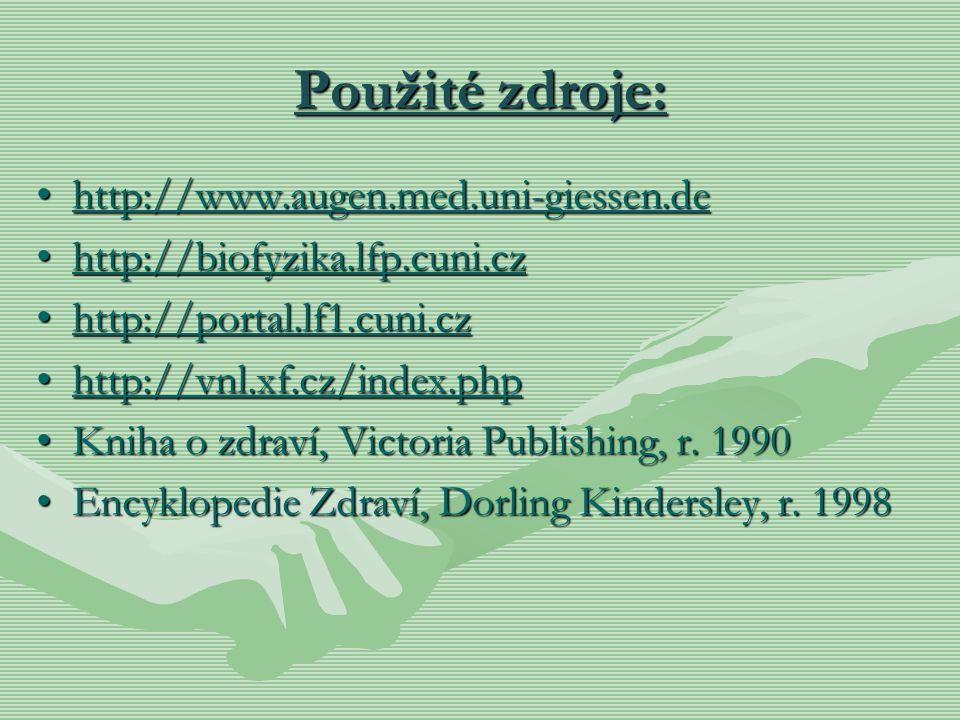 Použité zdroje: http://www.augen.med.uni-giessen.dehttp://www.augen.med.uni-giessen.dehttp://www.augen.med.uni-giessen.de http://biofyzika.lfp.cuni.cz