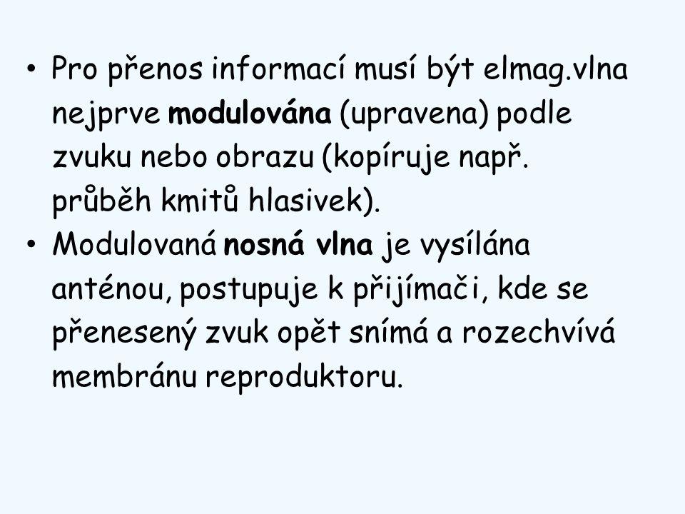 Pro přenos informací musí být elmag.vlna nejprve modulována (upravena) podle zvuku nebo obrazu (kopíruje např. průběh kmitů hlasivek). Modulovaná nosn