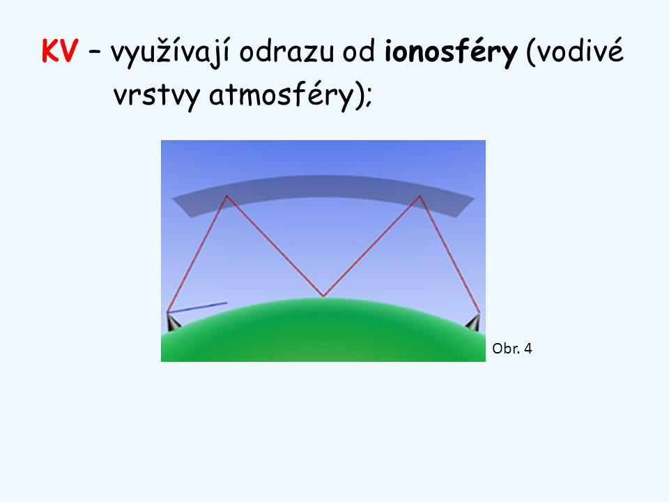KV – využívají odrazu od ionosféry (vodivé vrstvy atmosféry); Obr. 4