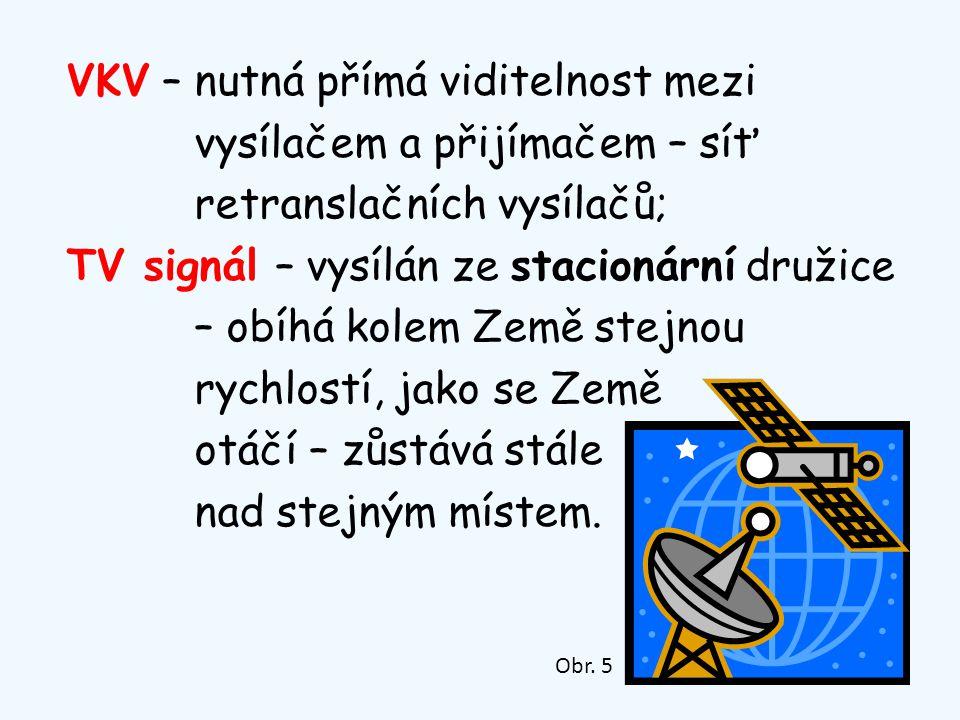 VKV – nutná přímá viditelnost mezi vysílačem a přijímačem – síť retranslačních vysílačů; TV signál – vysílán ze stacionární družice – obíhá kolem Země